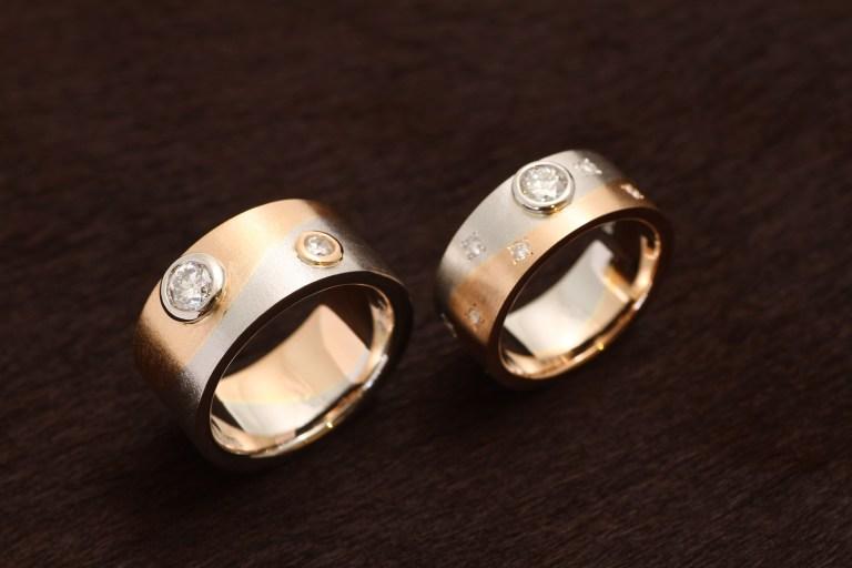 オーダーメイド結婚指輪 Pt900/K18PG (ピンクゴールド)お持込みダイアモンドを使用