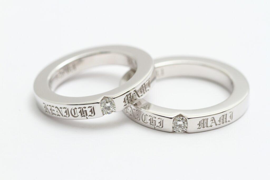 オーダーメイド結婚指輪 Silver ダイア0.1Ct オリジナルレーザー文字 セット参考価格 ¥200.000~
