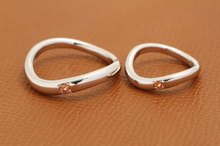 オーダーメイド結婚リング  Pt900 オレンジサファイア