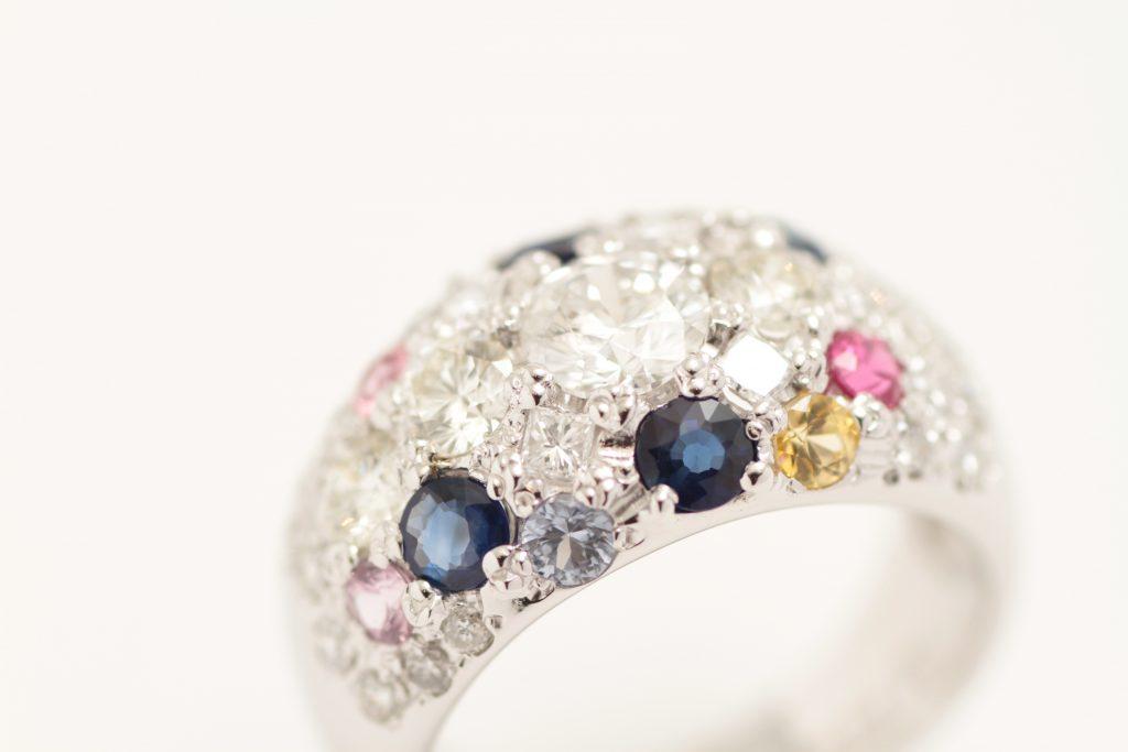 宝石を全部乗せた指輪リフォームが完成!