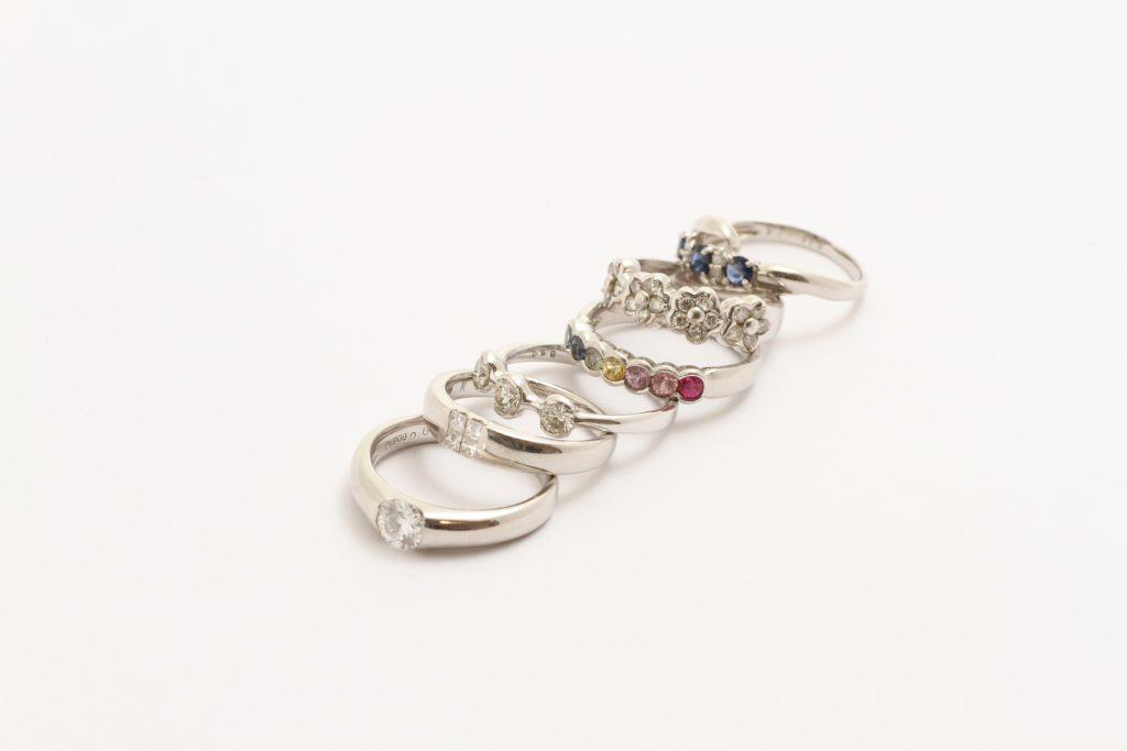 宝石全部乗せリング ジュエリーリフォーム お持込指輪