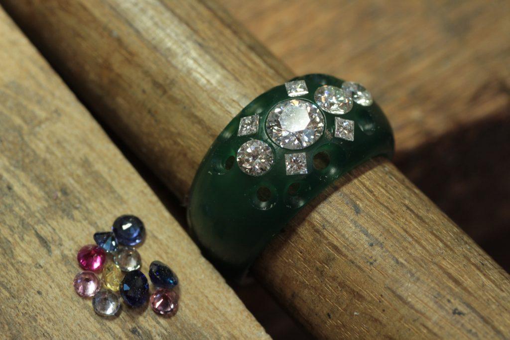 宝石全部乗せリング ジュエリーリフォーム  指輪製作工程