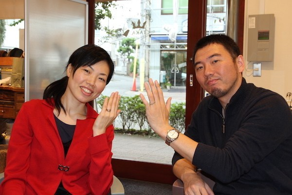 写真:オーダーメイド婚約指輪・結婚指輪をオーダーいただいたお客様