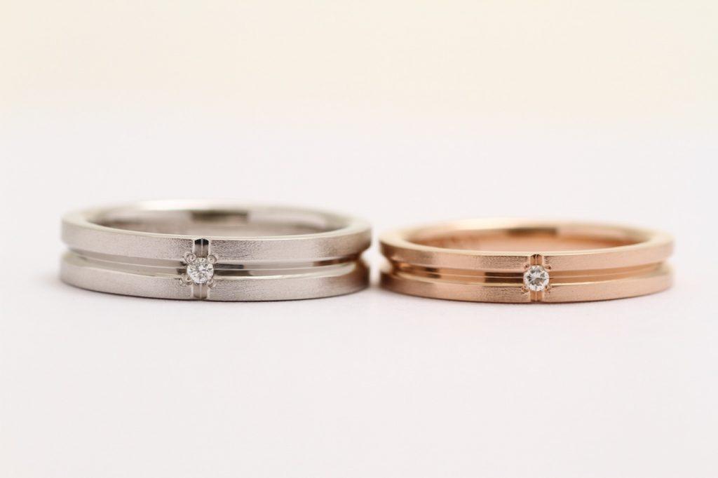 プラチナとゴールドのオーダーメイド結婚指輪