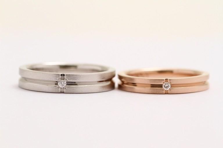 オーダーメイド結婚指輪Pt900&K18PG(ピンクゴールド)+メレーダイアモンド