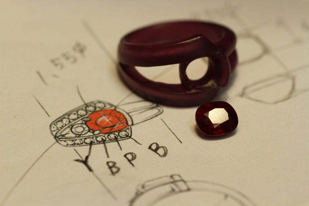 ルビーの指輪 オーダーメイドジュエリー 製作途中