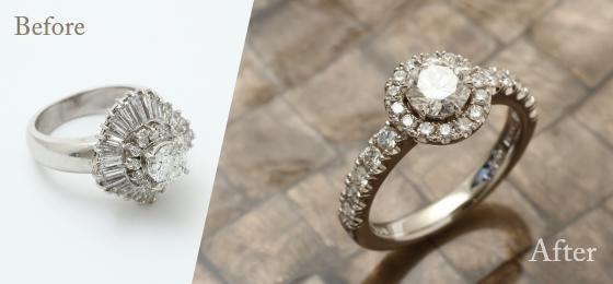 お持ち込み宝石を使った婚約指輪