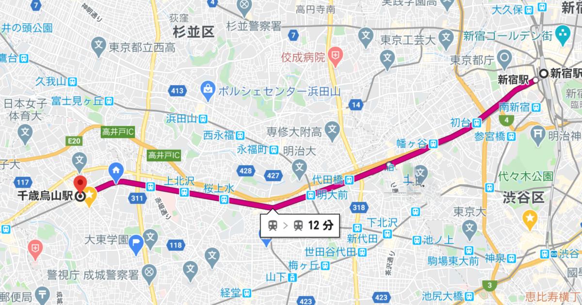 京王線 新宿駅~千歳烏山駅 路線図