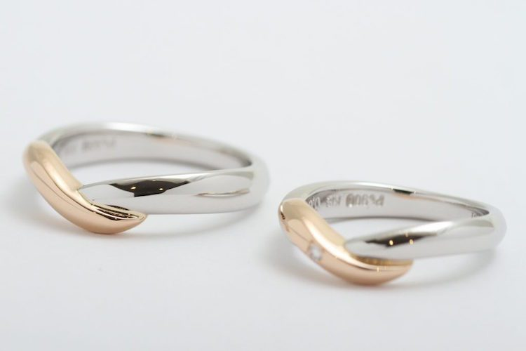 オーダーメイド結婚指輪 Pt900 & K18RG (レッドゴールド)