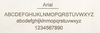 Arialのレーザー刻印サンプル