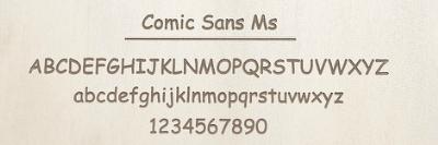 Comic Sans Msのレーザー刻印サンプル