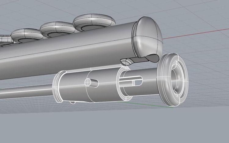 フルートのブローチの3D画像