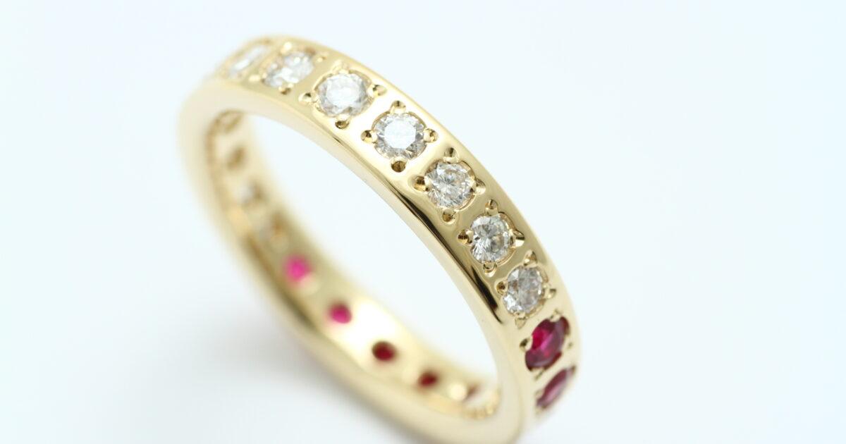 指輪リフォーム ルビーとダイアモンドの全部乗せ指輪