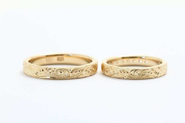 オーダーメイド結婚指輪 K18 オリジナル和彫り入り