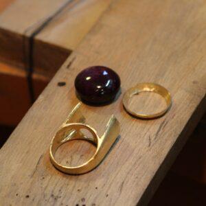 ルビー指輪製作途中