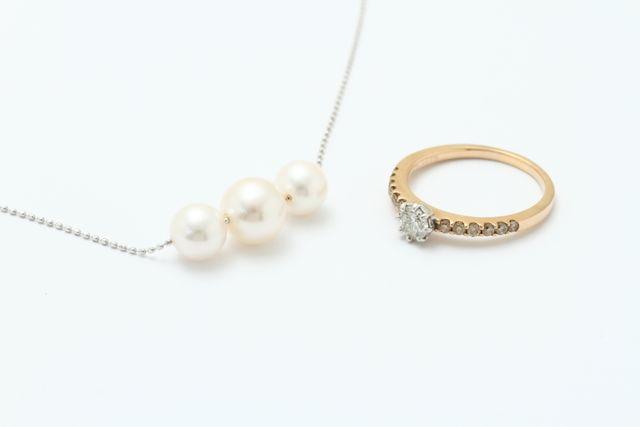 お持込みパールネックレスと指輪