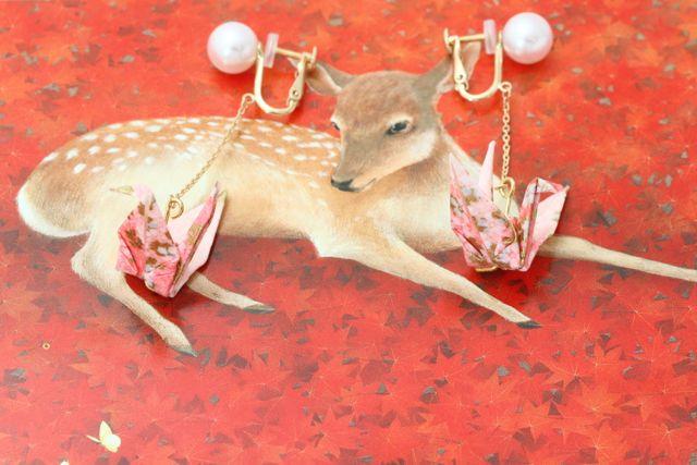 折り鶴のイヤリング