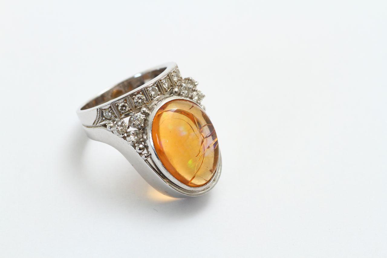 メキシコオパール 指輪リフォーム ビフォアー