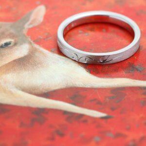 オーダーメイド プラチナの結婚指輪 和彫り