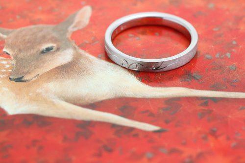 オーダーメイド プラチナの結婚指輪 和彫り ジュエリーTAKA