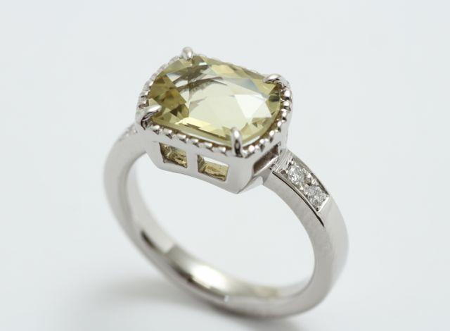 オーダージュエリー プラチナ GGシトリン 指輪