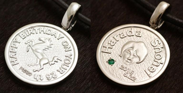 プラチナ製オーダーメイドのコイン