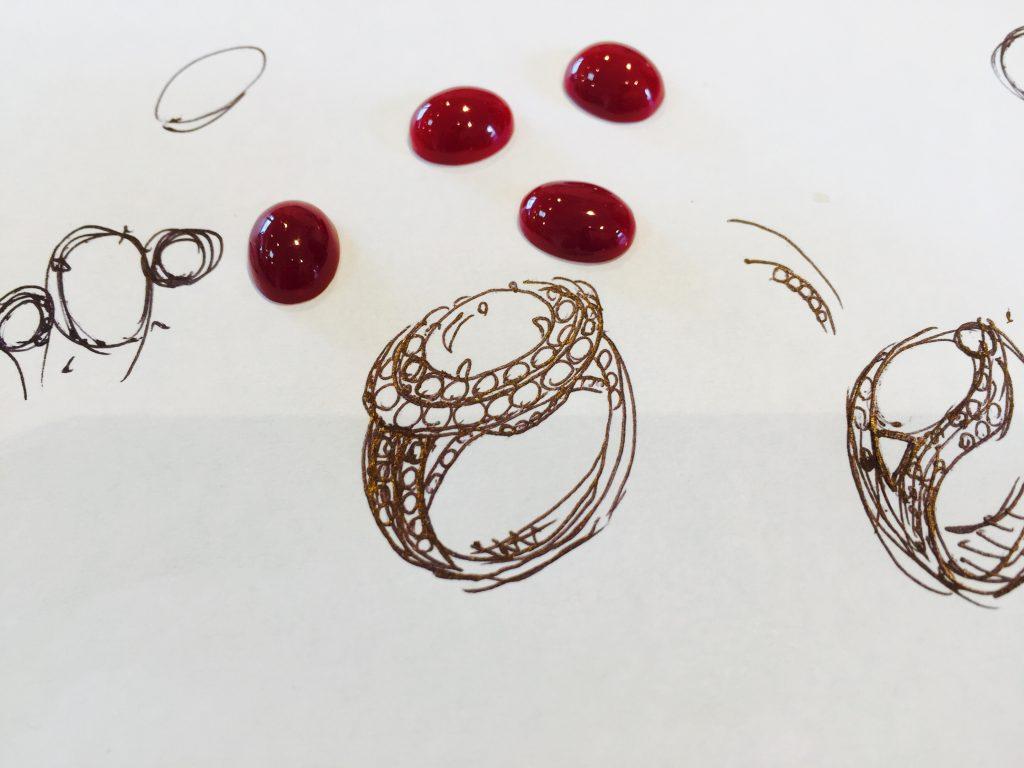 ジュエリーデザイナー乙未が描く 血赤珊瑚 デザイン ラフ画