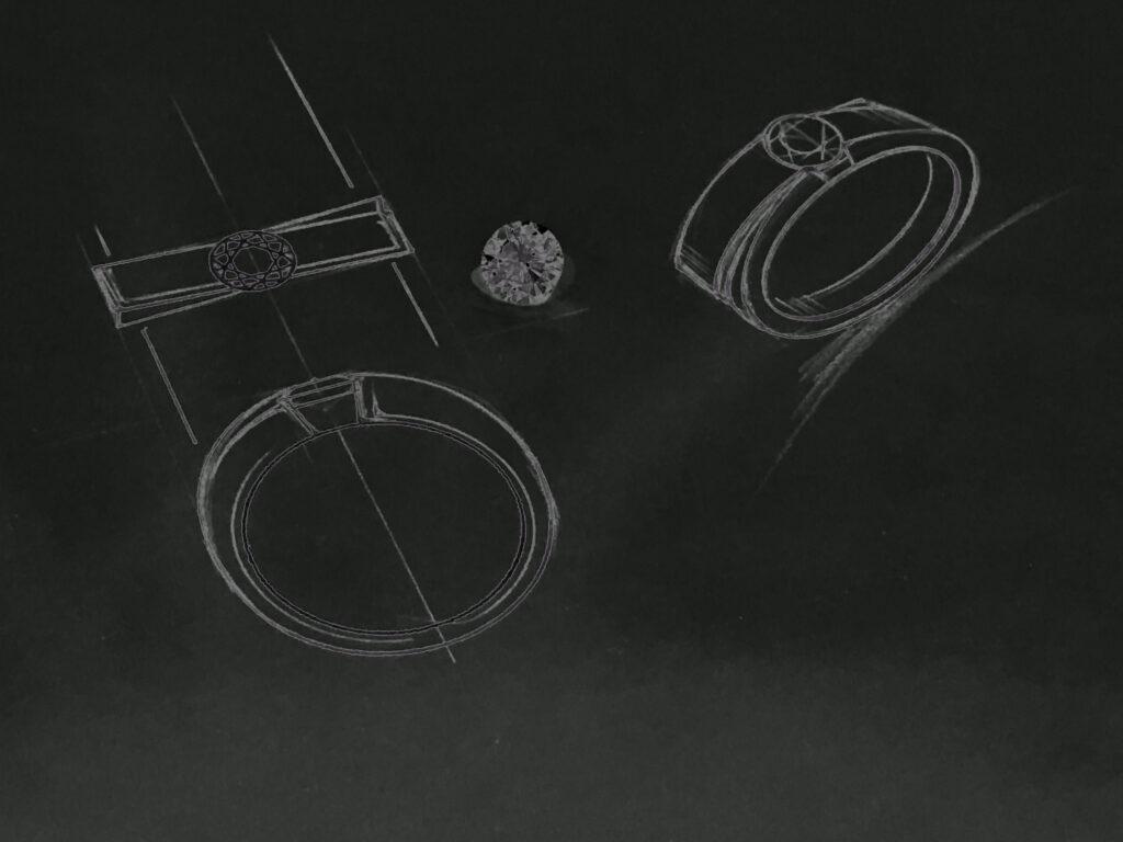 ダイヤの指輪のオーダーメイドジュエリーオリジナルデザイン画