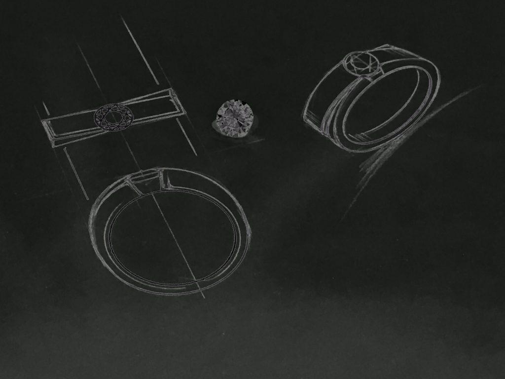 ダイヤ指輪のオーダーメイドオリジナルデザイン画