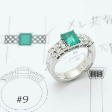 デザイン画と出来上がり指輪