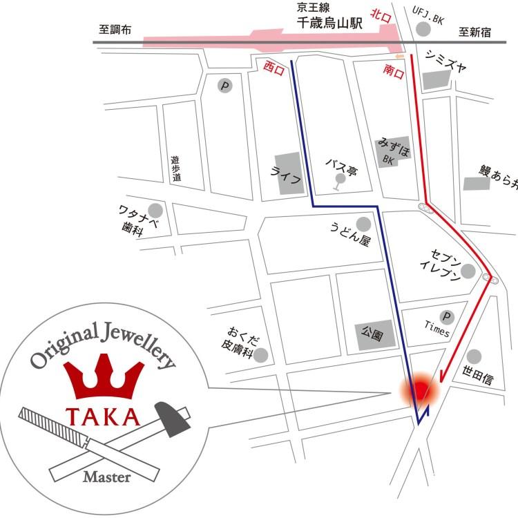 千歳烏山駅からジュエリーTAKA店舗までの地図