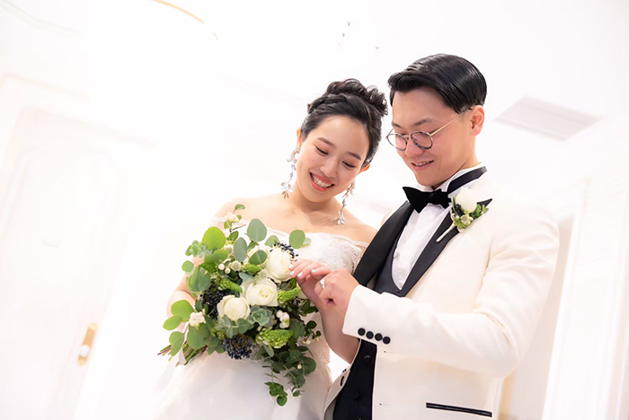 写真:結婚式でのお客様